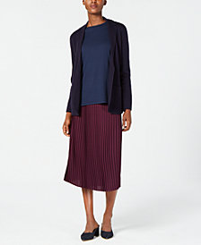 Eileen Fisher Cardigan, Silk Shell & Pleated Skirt