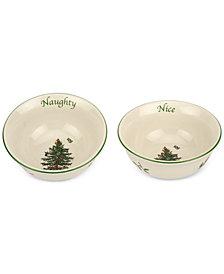 Spode Christmas Tree Naughty and Nice Dip Bowl Set