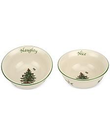 Spode Christmas Tree Naughty and Nice Dip Bowl Set, Created for Macy's