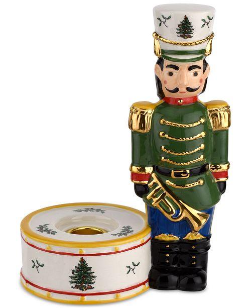 Spode Christmas Tree Nutcracker Candle Holder, Green