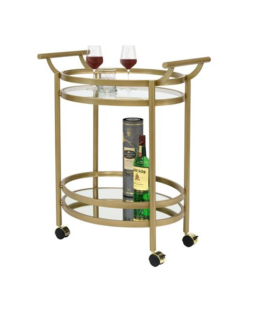 Studio Designs Home Palazzo Glass Bar Cart, Gold