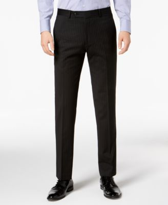 Men's Modern-Fit THFlex Stretch Black Pinstripe Suit Pants