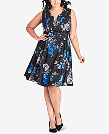 City Chic Trendy Plus Size Floral-Print Sleeveless A-Line Dress