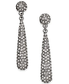 INC Silver-Tone Crystal Elongated Drop Earrings, Created for Macy's