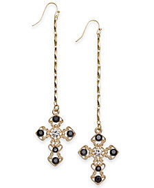 Thalia Sodi Gold-Tone Stone Cross Linear Drop Earrings, Created for Macy's