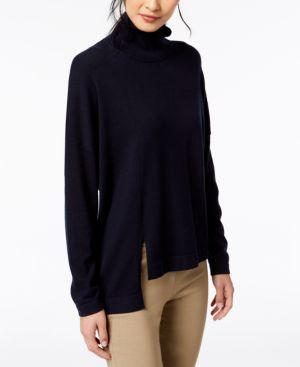 Fanale Asymmetrical-Hem Mock-Neck Sweater in Blue