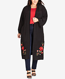 City Chic Trendy Plus Size Embroidered Kimono
