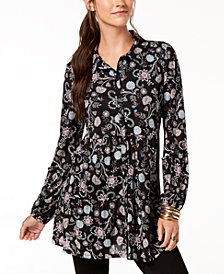 Style & Co Printed Ruffled Tunic, Created for Macy's