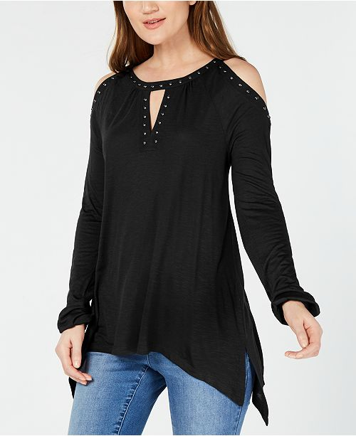 INC International Concepts INC Studded Cold-Shoulder Handkerchief Top, Created for Macy's
