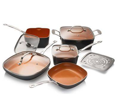 Gotham Steel - Ti-Cerama 10-Piece Kitchen and Cookware Set - Cooper