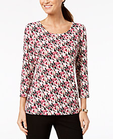 JM Collection Petite Jacquard-Print Gel-Dot Top, Created for Macy's