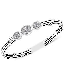 White Topaz Cuff Bracelet (3/4 ct. t.w.) in Sterling Silver