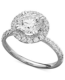 Arabella Swarovski Zirconia (3-1/2 ct. t.w.) Round Pave Engagement Ring in 14k White Gold