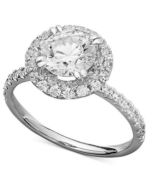 8b260d2b7 ... Arabella 14k White Gold Ring, Swarovski Zirconia Round Pave Engagement  Ring (3-1 ...