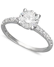 Arabella 14k White Gold Ring, Swarovski Zirconia Wedding Ring (2-3/4