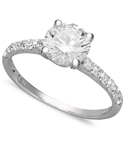 arabella 14k white gold ring swarovski zirconia wedding ring 2 34 - Macys Wedding Rings