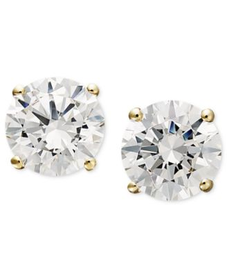 14k Gold Earrings, Swarovski Zirconia Round Stud Earrings (1-3/4 ct. t.w.)