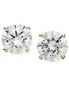 Arabella 14k Gold Earrings, Swarovski Zirconia Round Stud Earrings (1-3/4 ct. t.w.)