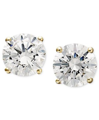 Fine Jewelry 14K Gold Stud Earrings featuring Swarovski Zirconia q3c5gE