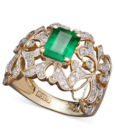 Brasilica by EFFY Emerald (1-3/8 ct. t.w.) and Diamond (1/3 ct. t.w.) Statement Ring in 14k Gold