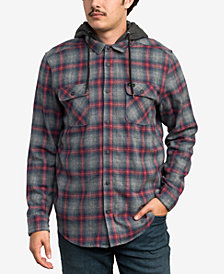RVCA Men's Plaid Hooded Shirt