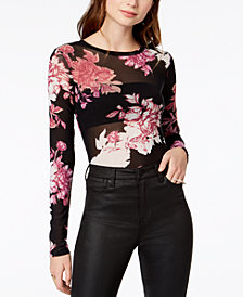Material Girl Juniors' Floral-Print Mesh Bodysuit, Created for Macy's