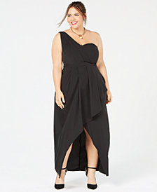 City Chic Allure One-Shoulder Asymmetrical Maxi Dress
