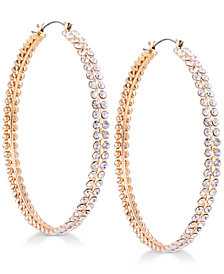 GUESS Gold-Tone Crystal Hoop Earrings
