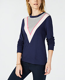 Maison Jules Colorblock Chevron Sweatshirt, Created for Macy's