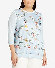 Lauren Ralph Lauren Plus Size Floral-Print Sweater