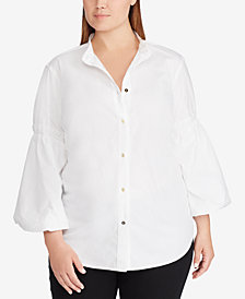 Lauren Ralph Lauren Plus Size Broadcloth Cotton Shirt