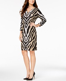 JM Collection Petite Metallic-Print Sheath Dress, Created for Macy's