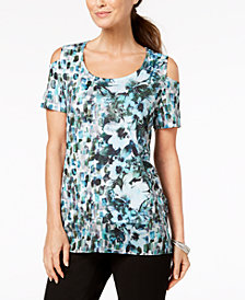 JM Collection Printed Cold Shoulder Top