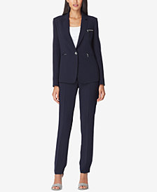 Tahari ASL One-Button Zip-Pocket Pantsuit