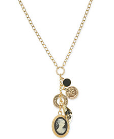 "I.N.C. Gold-Tone Cameo Multi-Charm Pendant Necklace, 18"" + 3"" extender, Created for Macy's"