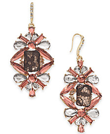 I.N.C. Gold-Tone Crystal, Stone & Mesh Drop Earrings, Created for Macy's
