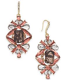I.N.C. Gold-Tone Crystal, Stone & Mesh Drop Earrings, Created for Macy's