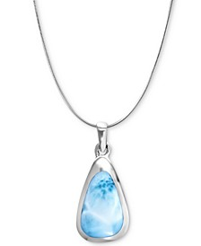 "Larimar Triangle 21"" Pendant Necklace in Sterling Silver"