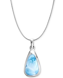"Marahlago Larimar Triangle 21"" Pendant Necklace in Sterling Silver"