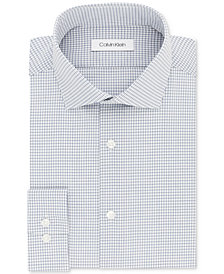 Calvin Klein Men's STEEL Slim-Fit Non-Iron Performance Blue Check Dress Shirt