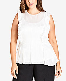 City Chic Trendy Plus Size Simply Striped Peplum Top