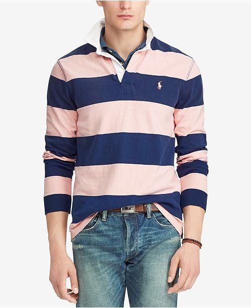 b652536c08 ... Polo Ralph Lauren Men s Pink Pony Striped Rugby Custom Slim Fit Shirt  ...