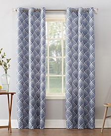 "Sun Zero Clarke 40"" X 95"" Geometric Print Textured Thermal Insulated Grommet Curtain"