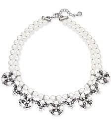 """Silver-Tone Imitation Pearl, Crystal & Stone Double Row Collar Necklace, 17"""" + 2"""" extender, Created for Macy's"""