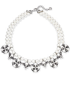 "Charter Club Silver-Tone Imitation Pearl, Crystal & Stone Double Row Collar Necklace, 17"" + 2"" extender, Created for Macy's"