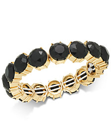 Charter Club Gold-Tone Stone Stretch Bracelet, Created for Macy's
