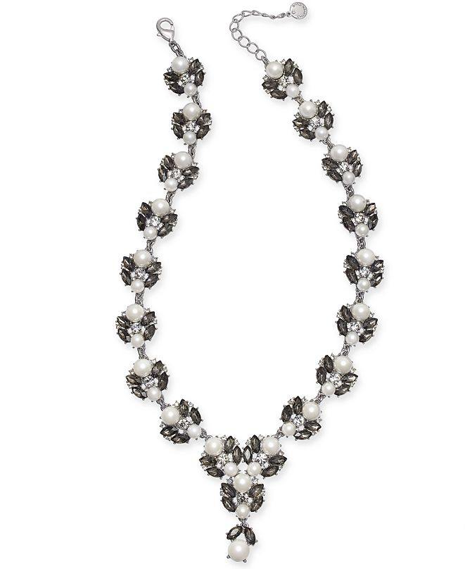 """Charter Club Silver-Tone Imitation Pearl, Stone & Crystal Statement Necklace, 17"""" + 2"""" extender, Created for Macy's"""