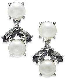Silver-Tone Imitation Pearl & Stone Double Drop Earrings, Created for Macy's