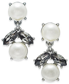Charter Club Silver-Tone Imitation Pearl & Stone Double Drop Earrings, Created for Macy's