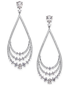 Danori Silver-Tone Crystal Layered Drop Earrings, Created for Macy's